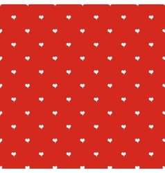 Seamless polka dot red pattern with hearts vector image vector image