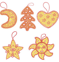 set of christmas decoration for christmas tree - vector image vector image