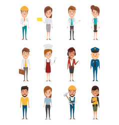 Set of people in occupation character of vector
