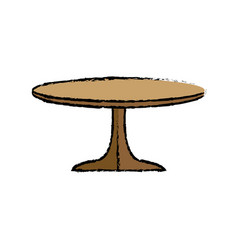 table wooden round furniture decoration vector image vector image