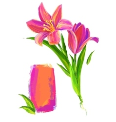 The cute flower on white background vector
