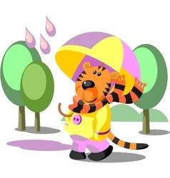 Tiger walking color 02 vector image