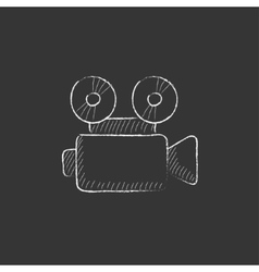 Video camera Drawn in chalk icon vector image