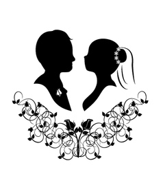 wedding silhouette 4 vector image
