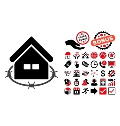 Prison building flat icon with bonus vector