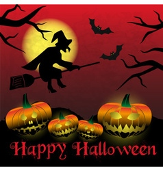 Happy halloween carved pumpkins and scary witch vector