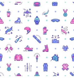 Winter sport seamless pattern line icon vector