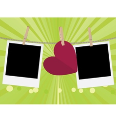 Heart with film frame on rope3 vector