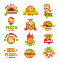 Delivery pizza logo badge set vector