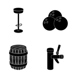 Restaurant cafe chair bowling ball pub set vector