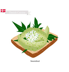 Smorrebrod with avocado the national dish of denm vector