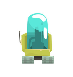 Cartoon robot crawler character with glass blue vector
