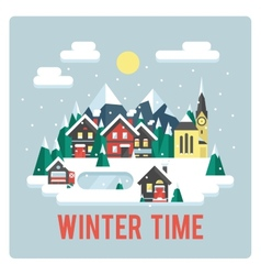 Town in mountains winter time day vector