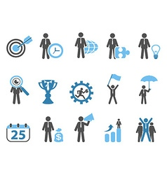 Business metaphor icons set blue series vector
