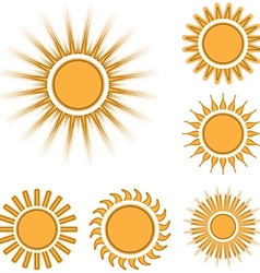 Different sun icons set isolated on white vector