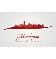 Manhattan skyline in red vector