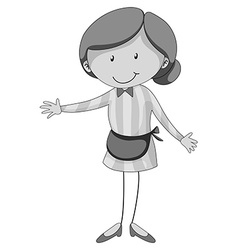 Woman wearing apron in black and white vector