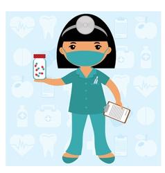 Little nurse in mask vector image