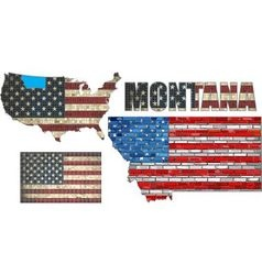 Usa state of montana on a brick wall vector