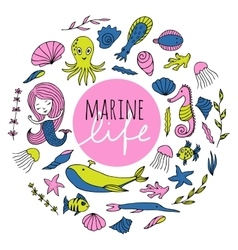 Set of marine life vector