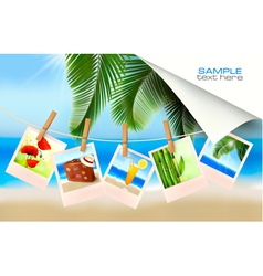 Background with photos from holidays on a seaside vector