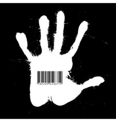 Barcode on the handprint vector