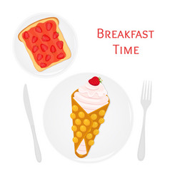 Belgian waffle with cream toast strawberry jam vector