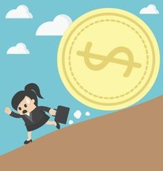 Business woman run money trap vector