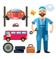 car mechanic flat style colorful cartoon vector image