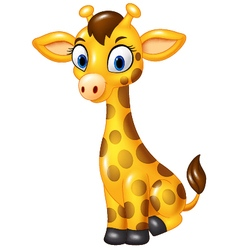 Cartoon baby giraffe sitting isolated vector image vector image