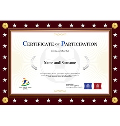 Certificate of participation template sport theme vector
