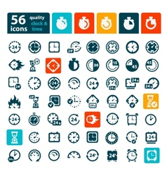 Color clock icons set vector