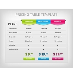 Colorful web pricing table template for business vector