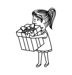 Cute little girl character with gift vector