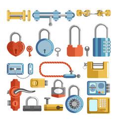 door locks and padlock latches keys retro vector image