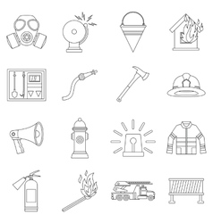 Fireman tools icons set outline style vector