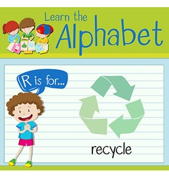 Flashcard alphabet r is for recycle vector