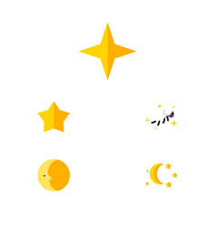 Flat icon night set of bedtime night starlet and vector
