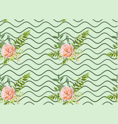 Floral summer seamless pattern bouquets pink roses vector