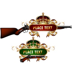 guns with decorative elements vector image vector image
