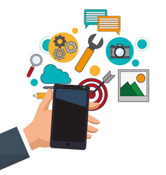 Hand holding smartphone digital marketing vector