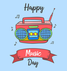 Happy music day celebration card style vector