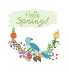 Hello spring lettering with bird flower branch vector