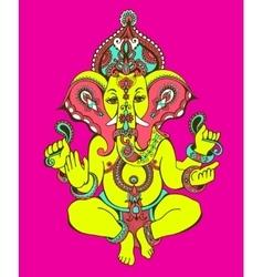 hindu lord ganesha ornate sketch drawing tattoo vector image