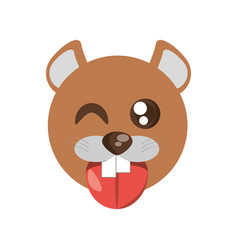 Kawaii face beaver animal fun vector