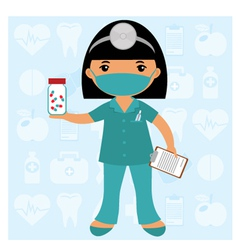 Little nurse in mask vector image