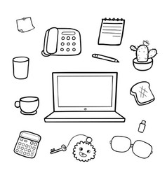 office equipment doodle drawing vector image