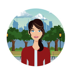 Pretty woman in the park with urban background vector