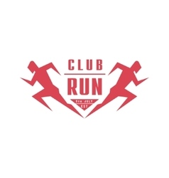 Run club geometric red label design vector