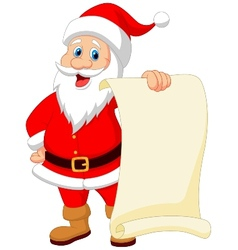 Santa clause cartoon holding blank vintage paper vector